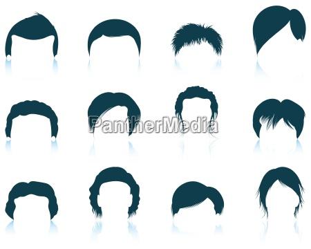 zestaw ikon fryzur czlowieka