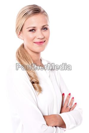 charming optimistic woman posing