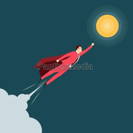 biznesmen czerwony garnitur super bohater ilustracja