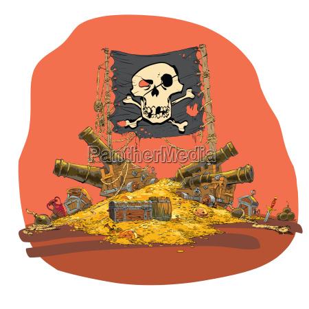 pirat skarb wektor ilustracja