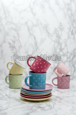kawiarnia niebieski szklo kubek kielich herbata
