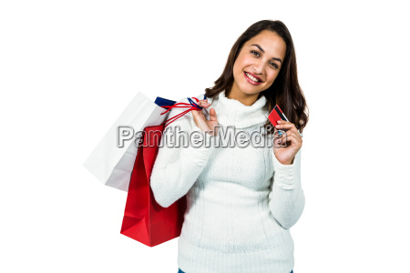 portrait of happy woman with shopping