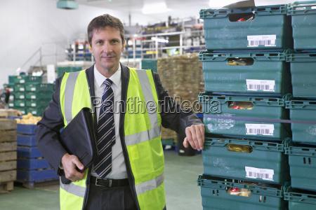 portrait confident bank manager in potato