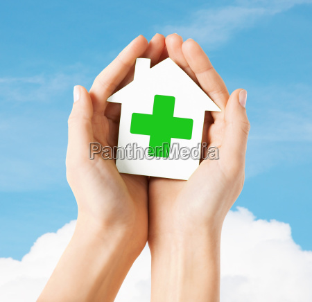 hands holding paper house with green