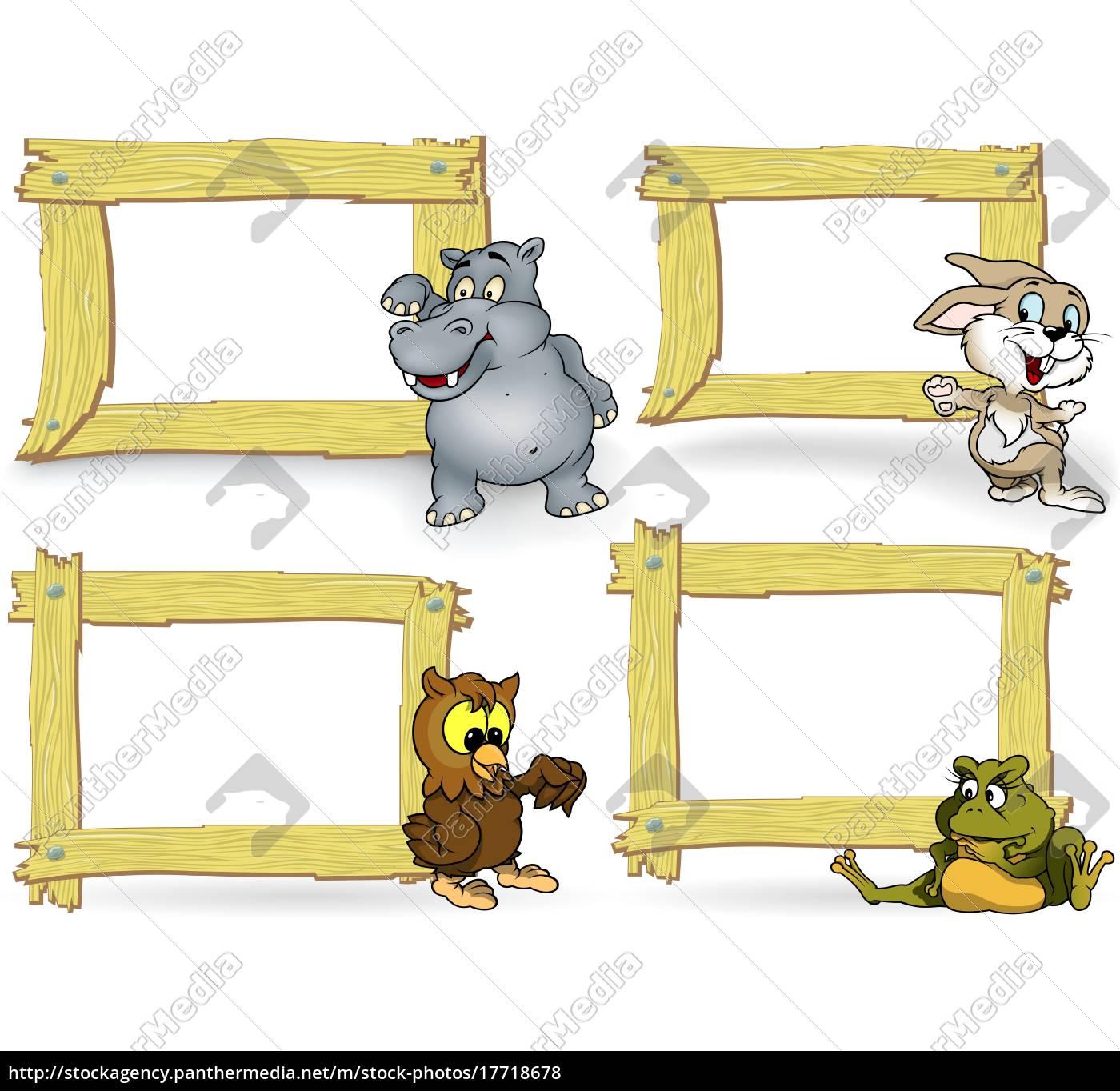 drewniana, rama, z, kreskówki, zwierząt - 17718678