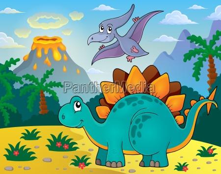 obraz tematu dinozaurow 3