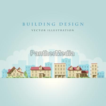 vector flat illustration of city landscape