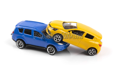 car accident concept two toy cars