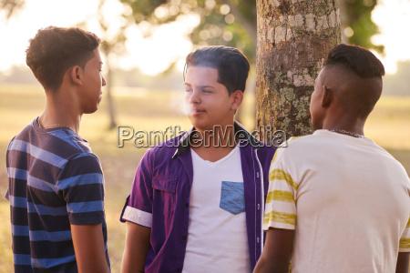 nastolatki w parku chlopiec palenie elektroniczny