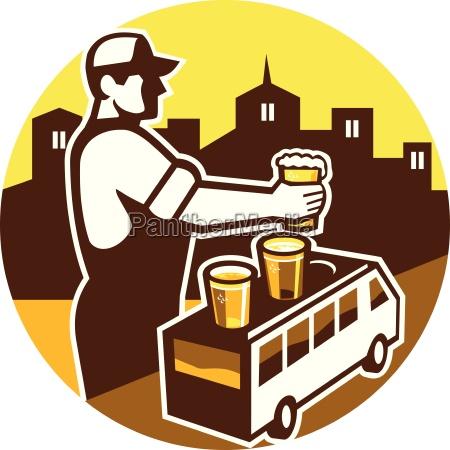 bartender beer city van circle retro