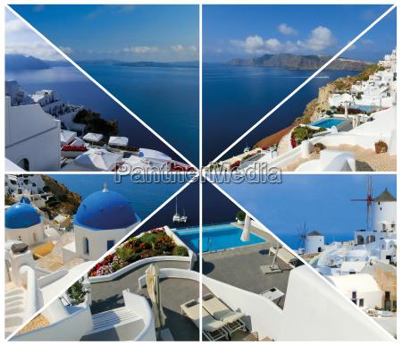 set of summer photos in santorini