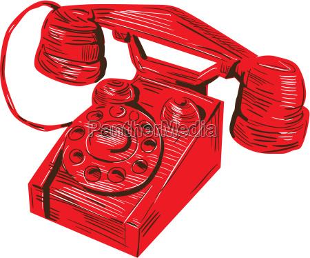 telefon rocznika rysunek