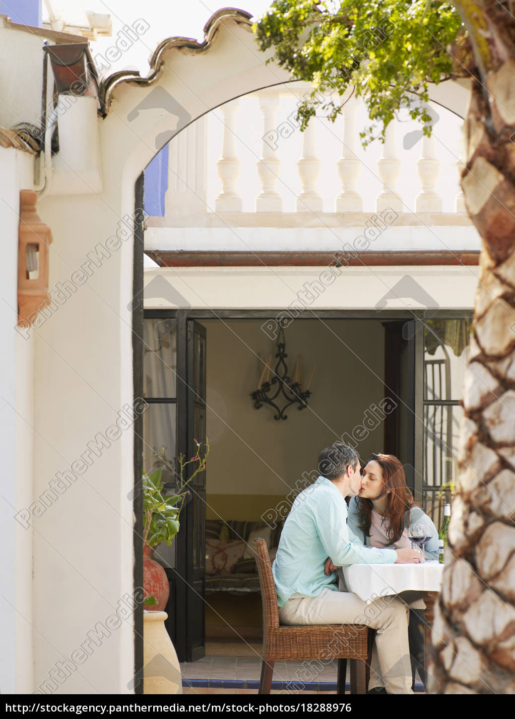 couple, sitting, on, garden, terrace - 18288976