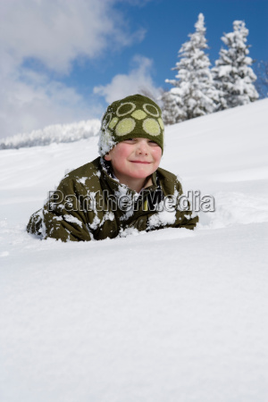 portrait of boy in the snow