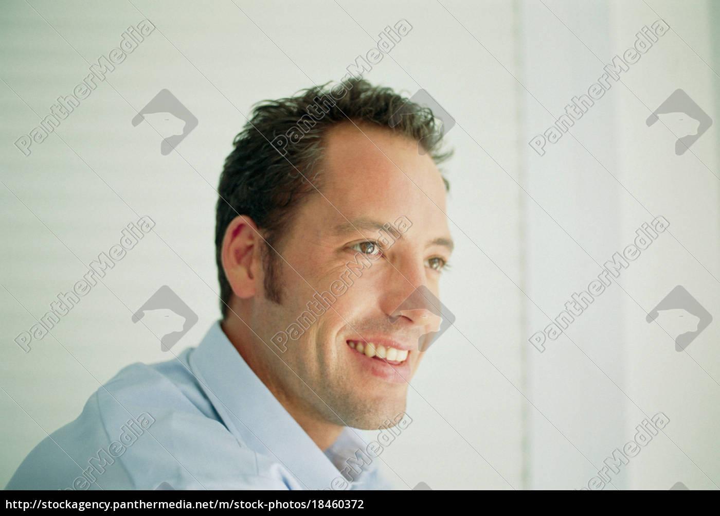 zbliżenie, uśmiechniętej, twarzy, człowieka - 18460372