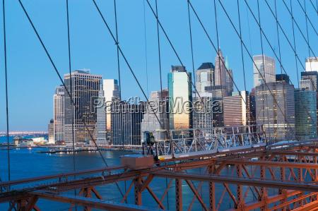 new york city bridge and skyline