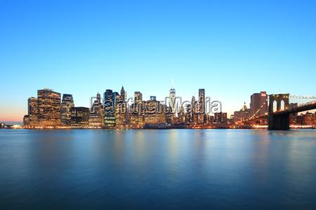 cityscape at dusk new york city