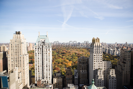 elevated view of central park
