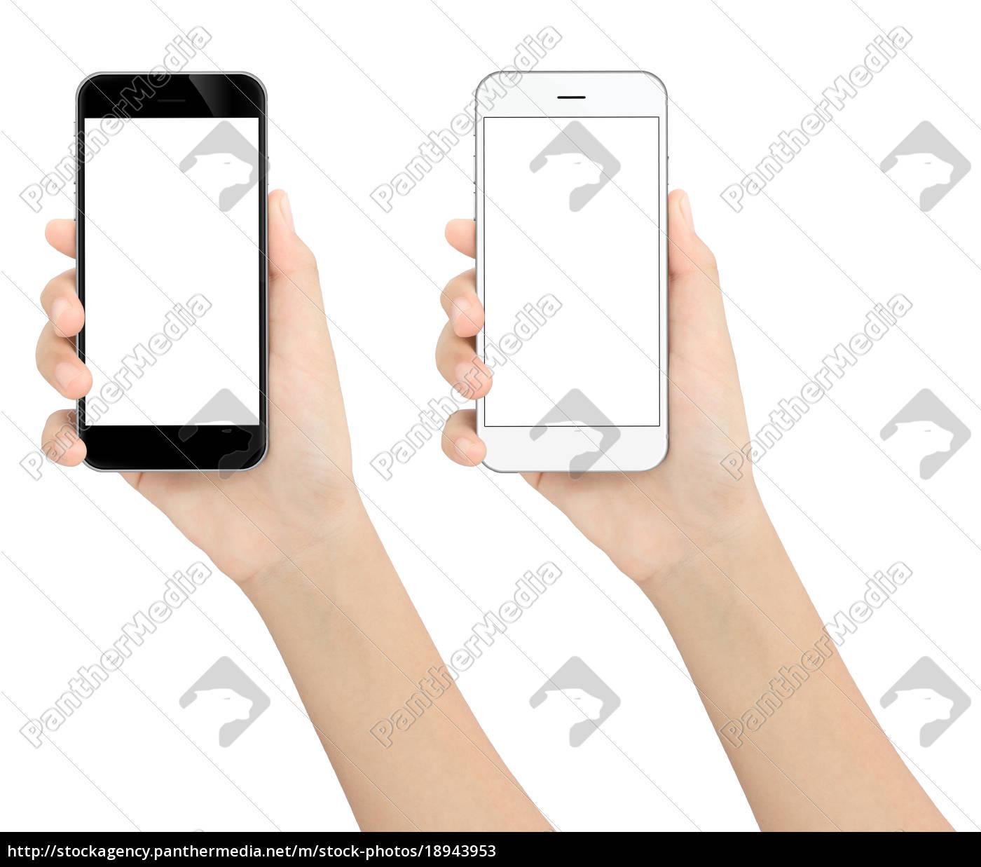 czarny, i, biały, telefon, na, białym - 18943953