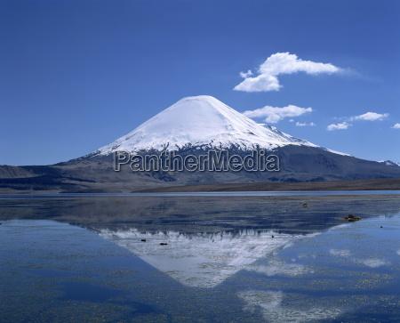 wulkan, parinacota, i, jezioro, chungara, w - 19004575