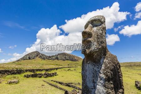 jedna statua moai strzeze wejscia na
