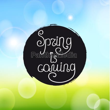 pismo odreczne napis wiosna nadchodzi