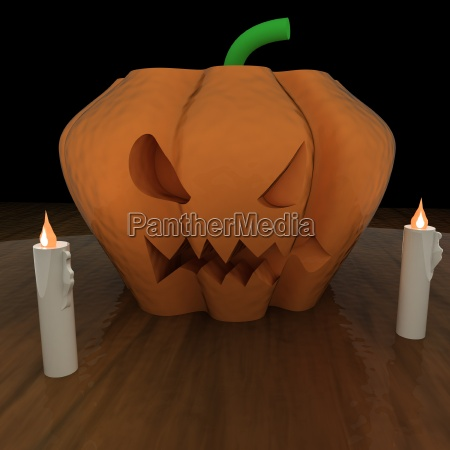 jack o lantern pumpkin over table