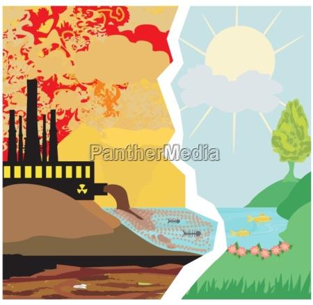 air polluting factory chimneys