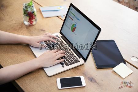 kobieta za pomoca laptopa na biurko