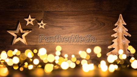 christmas background of wood and lights