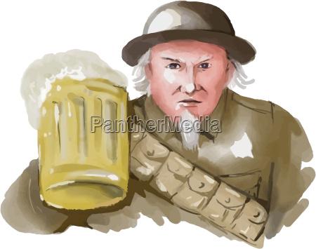 uncle sam ww1 soldier toasting beer