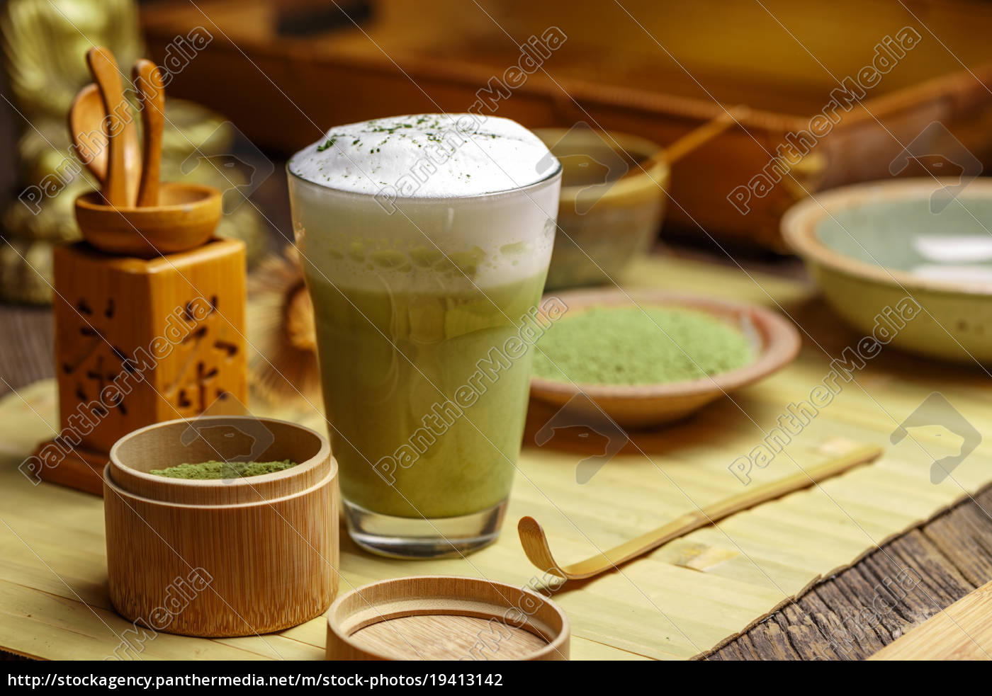 zielona, herbata, matcha, latte - 19413142