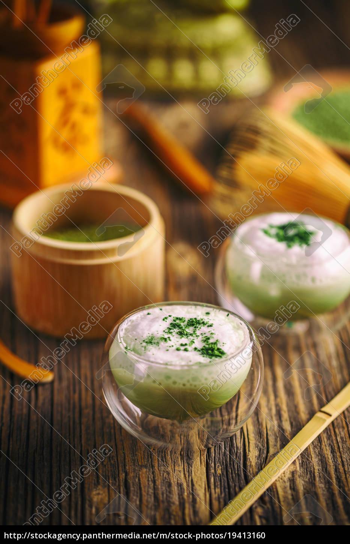 zielona, herbata, matcha, latte - 19413160