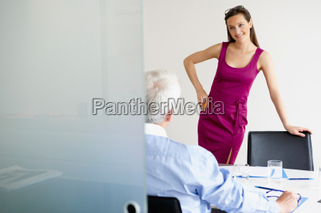 business woman talking with a man