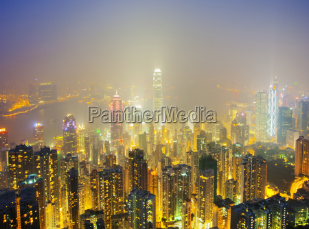 skyscrapers in hong kong at night