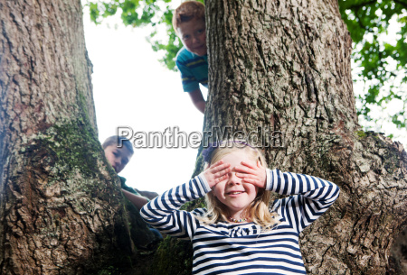 children playing hide and seek in