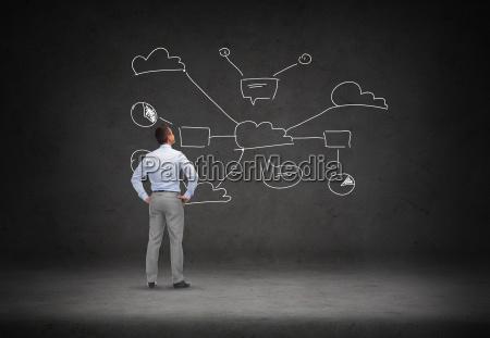 biznesmen patrzac na chmurze obliczeniowej systemu