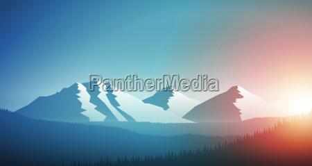 sunrise in the mountain chain