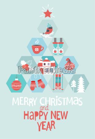 boze narodzenie i nowy rok karty