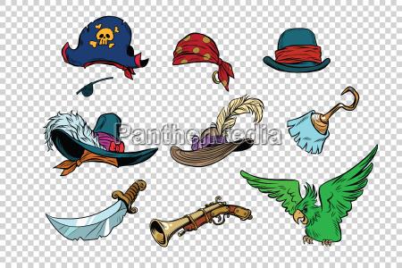 piracki zestaw nozy i kapeluszy