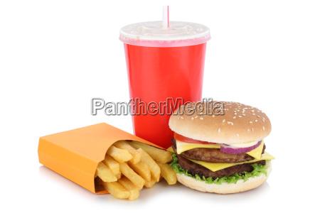 double cheeseburger hamburger menu z frytkami