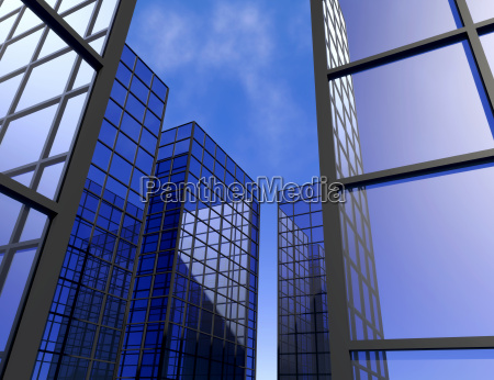 window view office building blue glass
