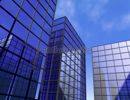 biuro drapacz chmur grod ilustracja niebieski