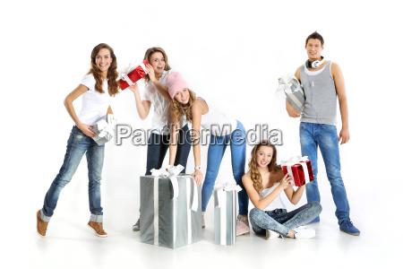 group of young joyful nice people