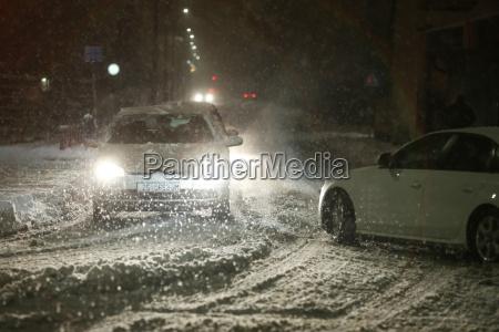 snowfall na ulicach velika gorica chorwacja