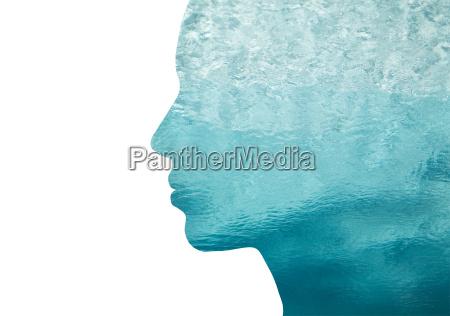 kobieta womane baba profil niebieski ludzie