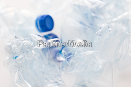 close up of empty used plastic