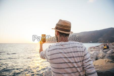 grecja cylcades islands amorgos czlowiek robienia