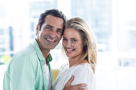 portrait of romantic couple at home