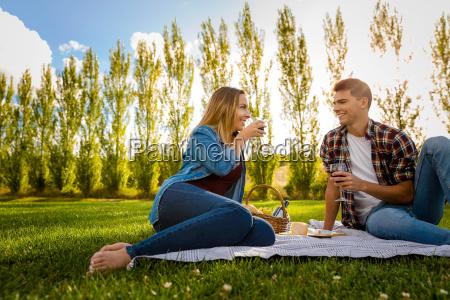 strzal pieknej pary na pikniku i